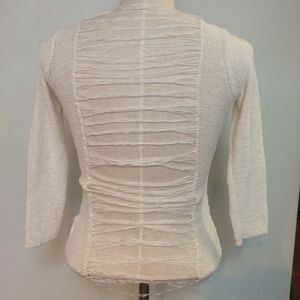 White shredded ladder cutout back knit sweater top